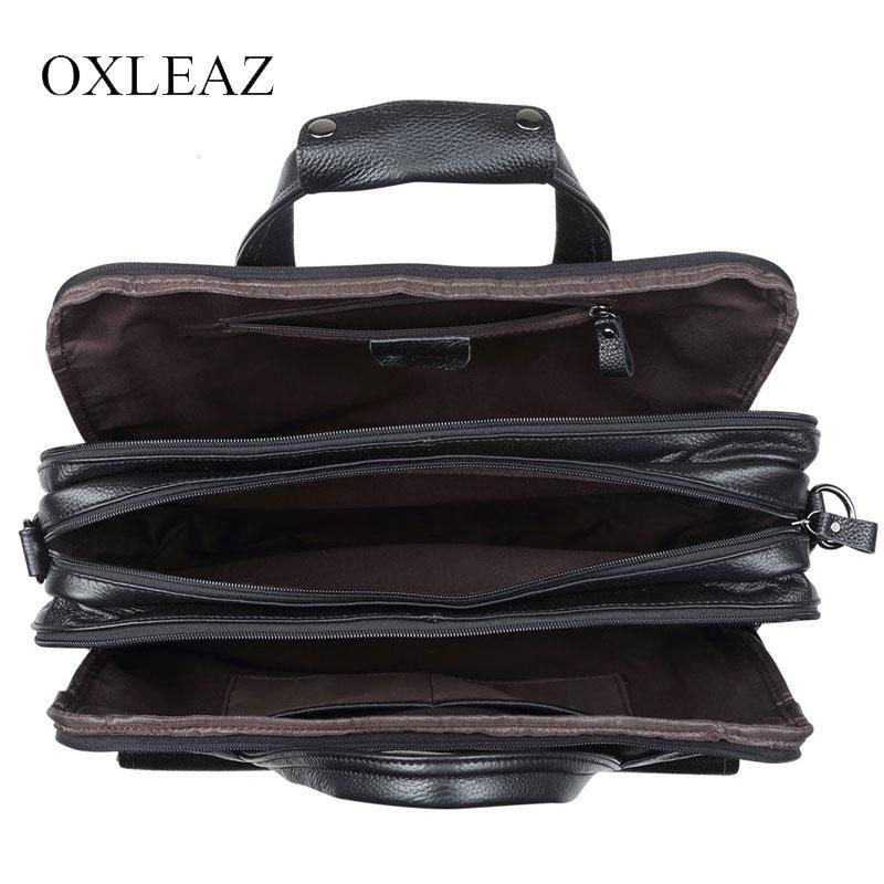 "OXLEAZ Brand 15"" Men Business Bags Men Laptop Briefcase Male Genuine Leather Computer Work Bag Large Vintage Handbags for Man"