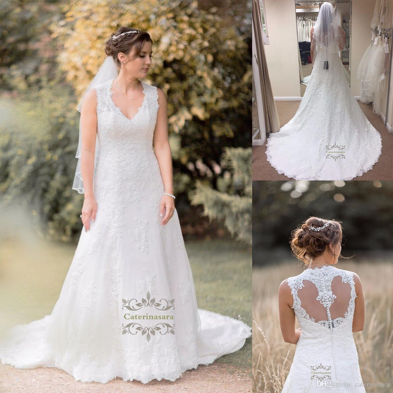Discount Lace Bustle Loop Back Queen Ann Neck Wedding Dress With ...