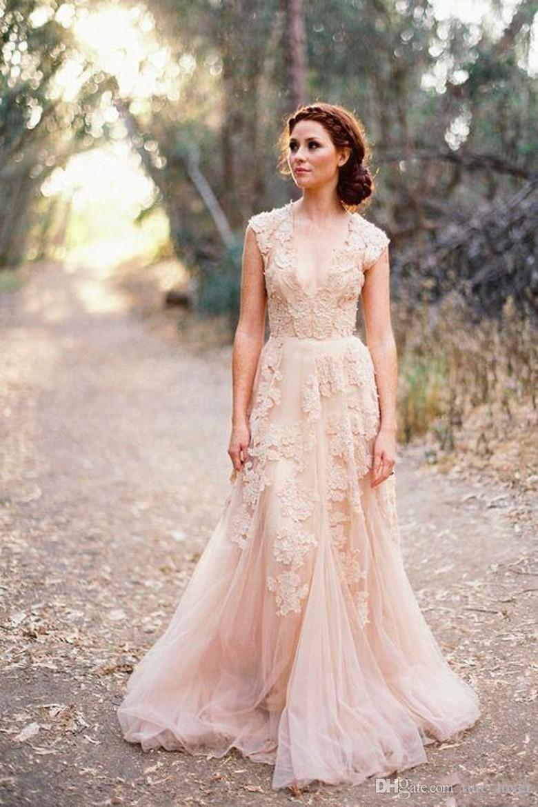 Discount 2018 Cheap Country A Line Wedding Dresses V Neck Full Lace