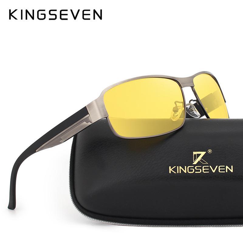 4ca6f099c6c2b Compre Kingseven Visão Noturna Óculos De Sol Dos Homens Óculos De Condução  Amarelo Eyewear Homem Polarizada Óculos De Sol Para A Noite Gafas De Sol ...