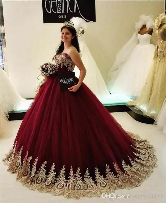 53d320ab7 Burgundy Quinceanera Dresses With Gold Appliques Sweetheart Prom Dresses  Ball Gowns Tulle Sweet 16 Dresses Evening Wear Sweep Train Cheap  Quinceanera Dama ...