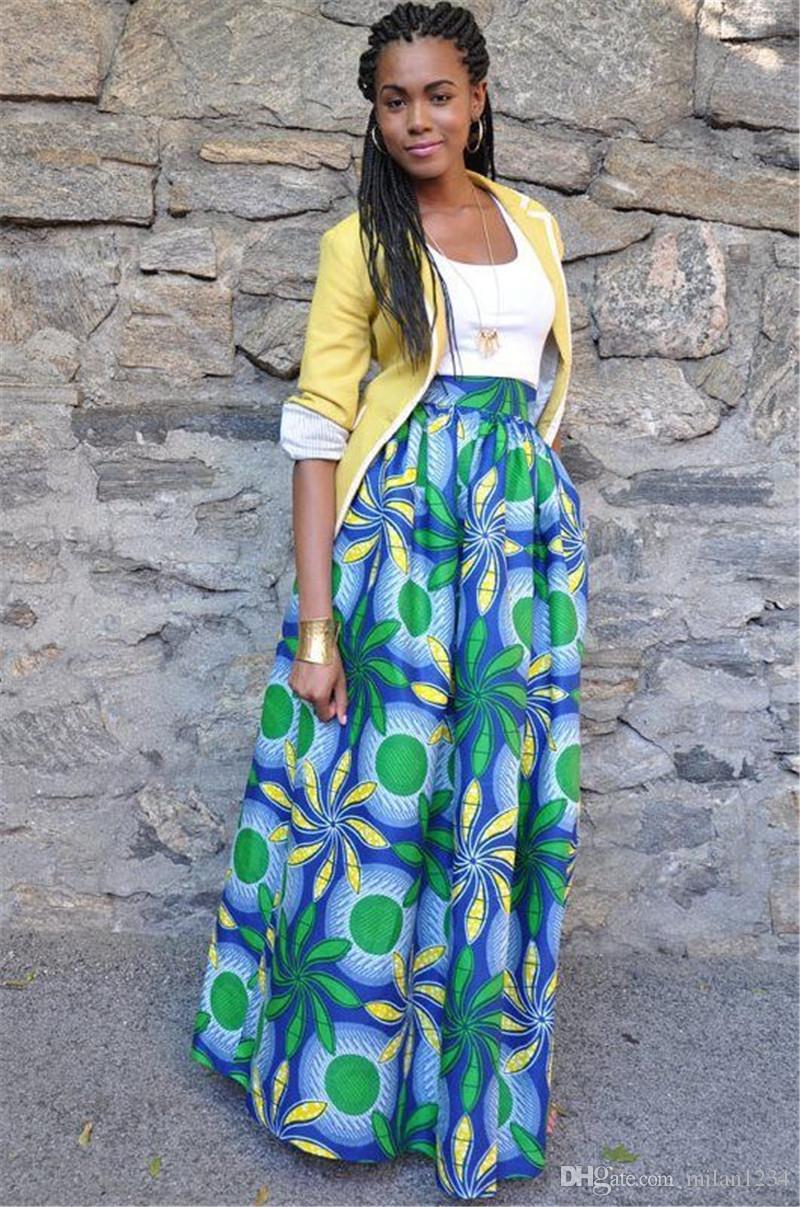2d5474a97c Womens African Floral Maxi Dress High Waist A Line Long Skirts With Pockets  Dashiki for Women Dashiki for Women Tradtional African Print Clothing  Online ...