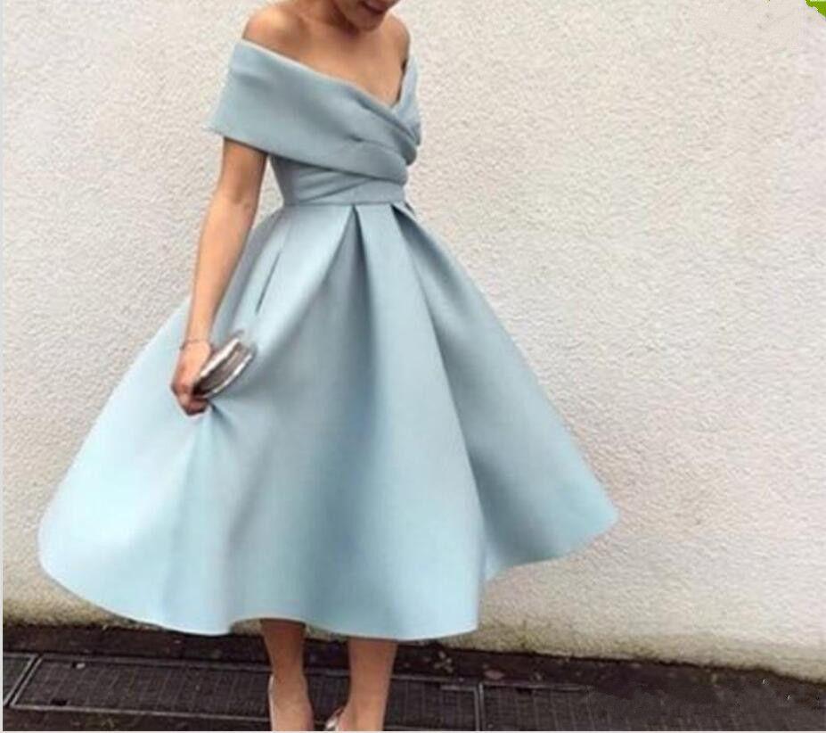2019 nouvelle arrivée bleu clair robe de cocktail hors l'épaule thé longueur robes de soirée courtes de bal haute qualité robes de bal de cérémonie robe formelle