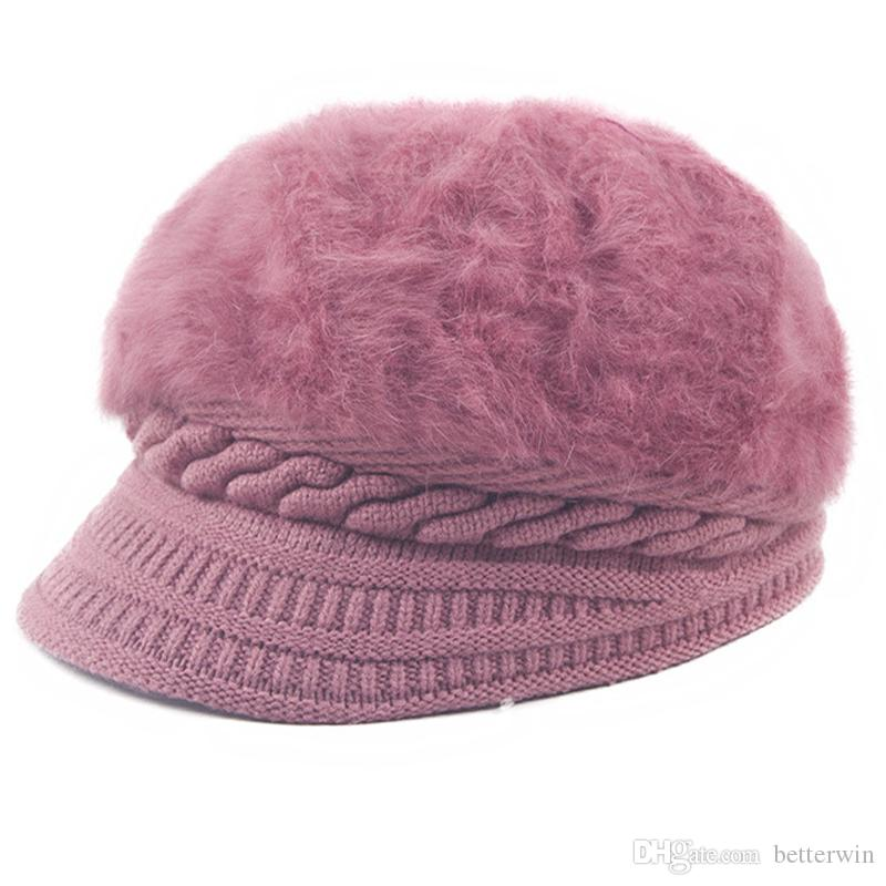 2019   SINGYOU Women Winter Hat Rabbit Hair Warm Berets Ladies Elegant  Knitted Hats Solid Color Thicken Women Cap From Betterwin 3c1778f9689