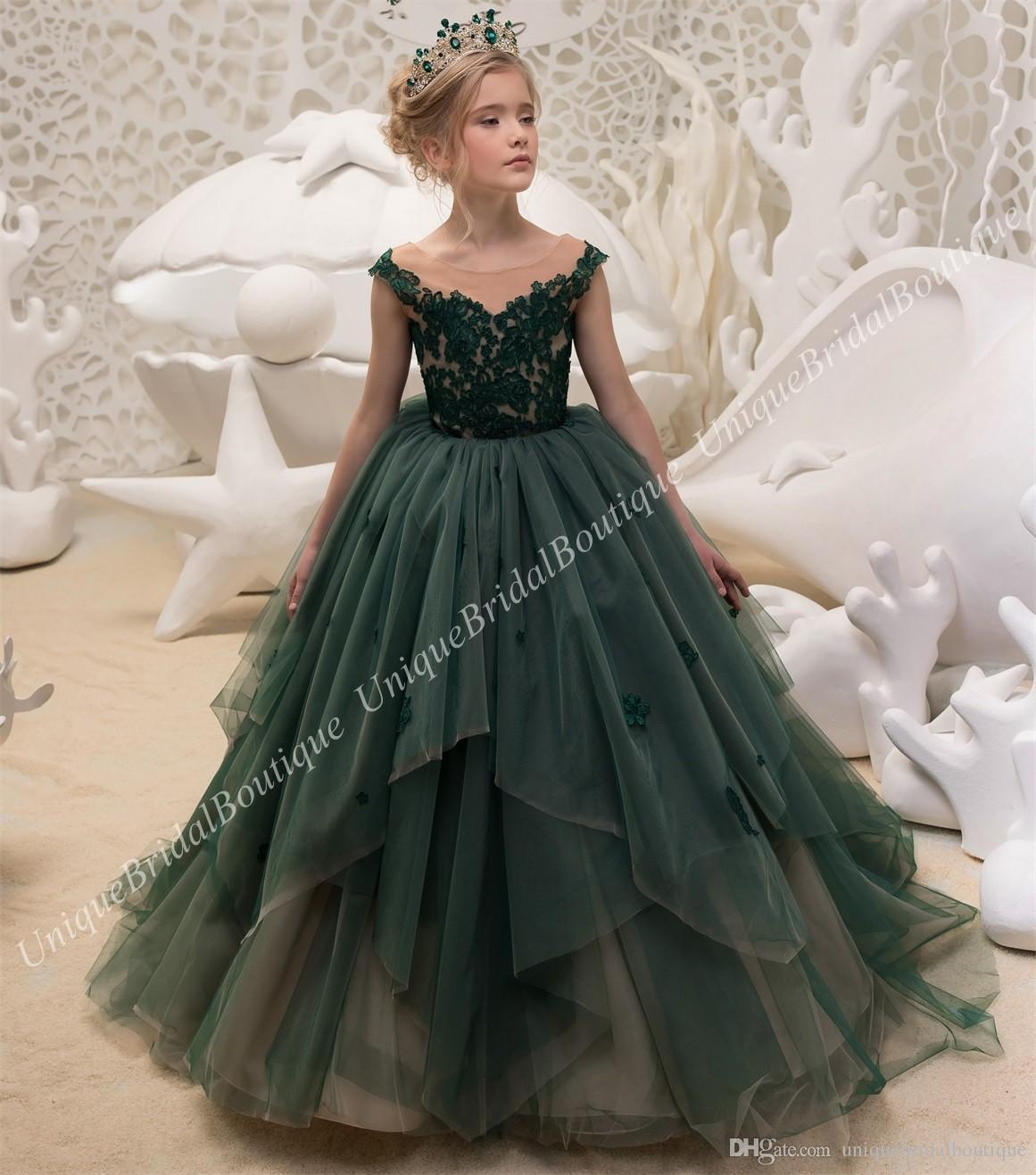 d6e5c9c9203b1 Acheter Émeraude Vert Fille De Fleur Robes 2018 Anniversaire De Mariage  Demoiselle D honneur De Vacances En Dentelle Petites Filles Habillement  Habillé Robe ...