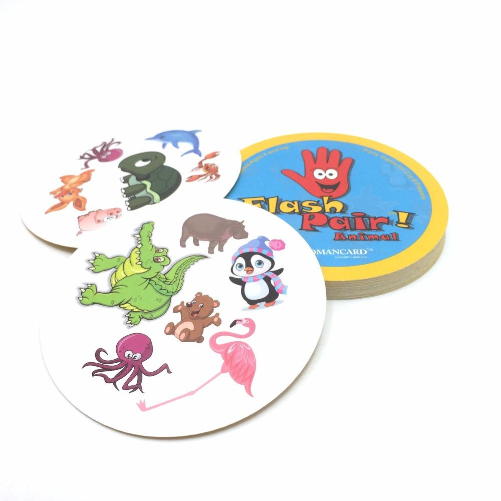 ROMMENDCARD flash pair junior animals spot it cards game for kids party board game