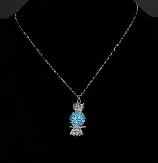 Aydınlık Baykuş Kolye Glow Karanlık Kolye Kolye Kadın Erkek Baykuş Moda Taş Moda Takı