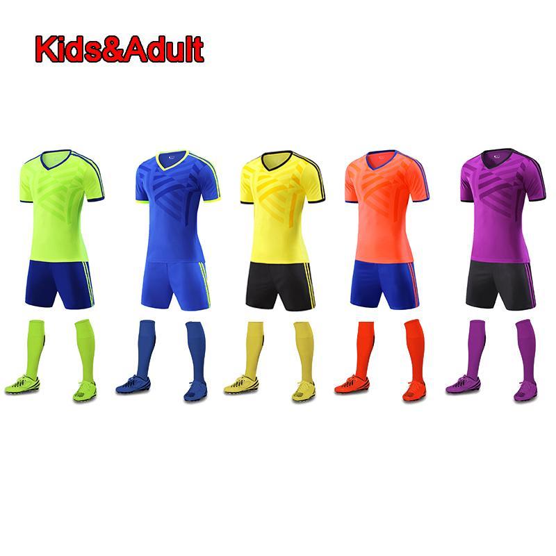 8eae5e054 2019 Men Soccer Sets Survetement Football Kits 2018 Sports Kids Soccer  Jerseys Futbol Uniforms Shirts Shorts Maillot De Foot Jersey From Wudun