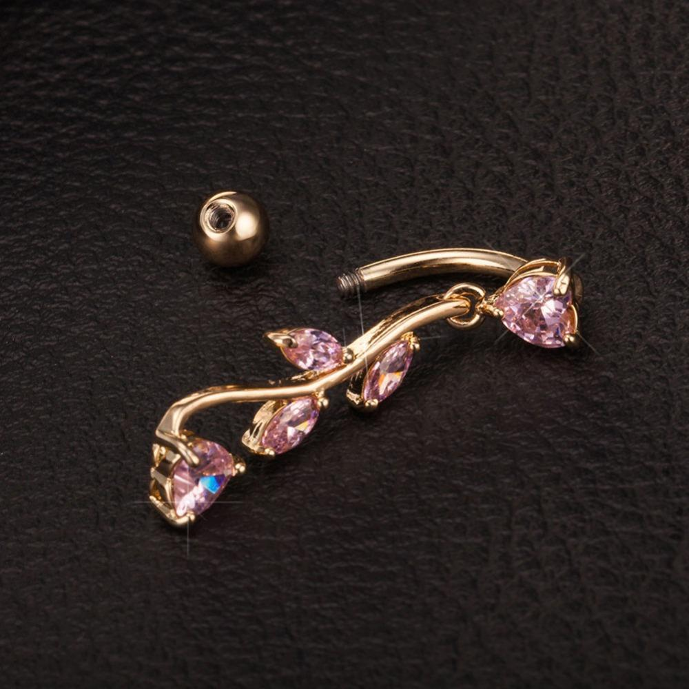 New Piercing Navel Belly Button Bar Ring Leaf Shape Body Jewelry BDY0009