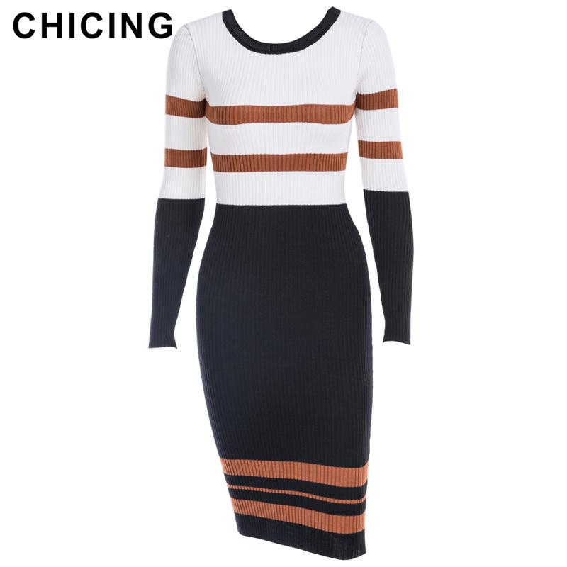 CHICING Autumn Winter New Arrival Women Striped Party Sheath Wrap Dresses  Long Sleeve O Neck Sexy Knitted Midi Dress 1807023 D18102902 UK 2019 From  Tai01 2a7a5d2b1a57
