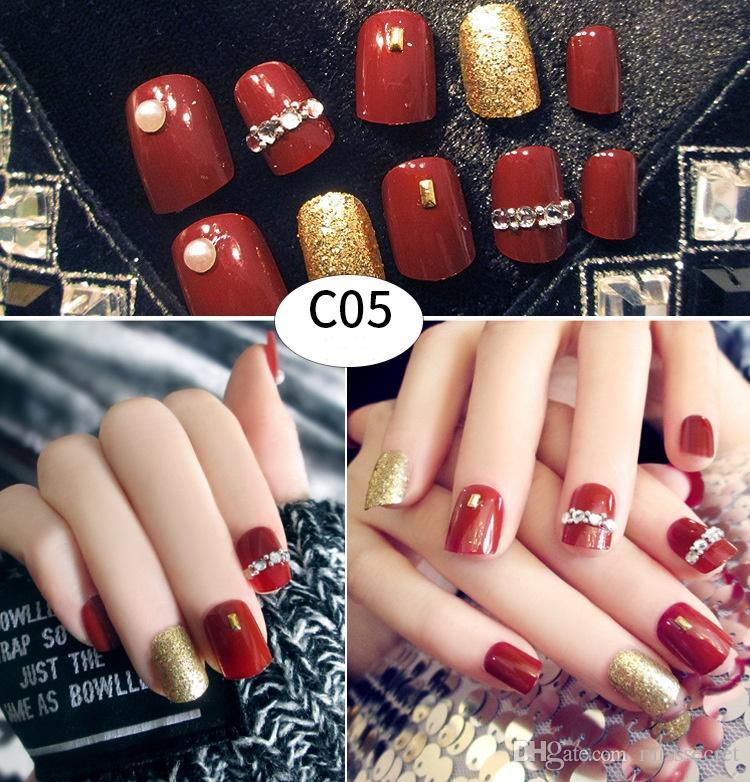 /комплект блестящий накладные ногти блестящие сексуальный милый короткие длинные поддельные ногти полный советы ногтей ногтей макияж 36 стили