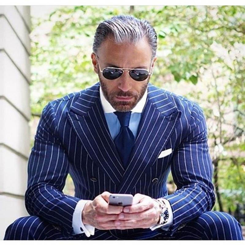 Compre Los Últimos Diseños De Pantalón De Abrigo Azul Marino De Raya Traje  De Hombre Chaqueta De Doble Botonadura Slim Fit 2 Piezas De Esmoquin ... e6c26bf6387