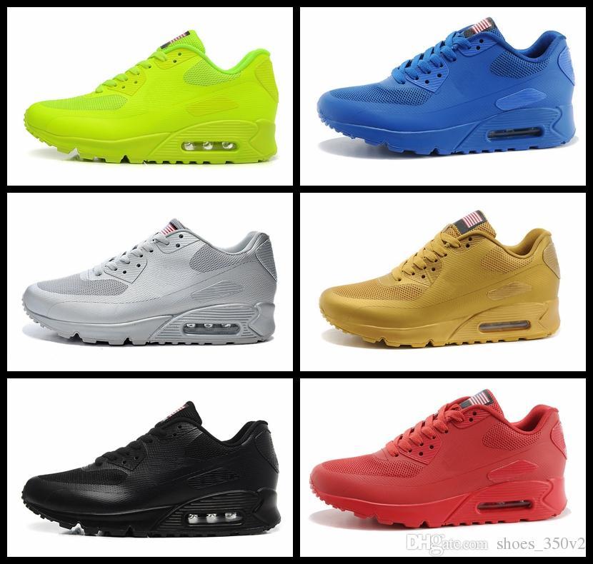 98160d0ead7 Compre Nike Air Max 90 Flag America Novo 90 HYP PRM QS Homens Mulheres  Sapatos Casuais 90 S Bandeira Americana Preto Branco Vermelho Azul Marinho  Prata Ouro ...