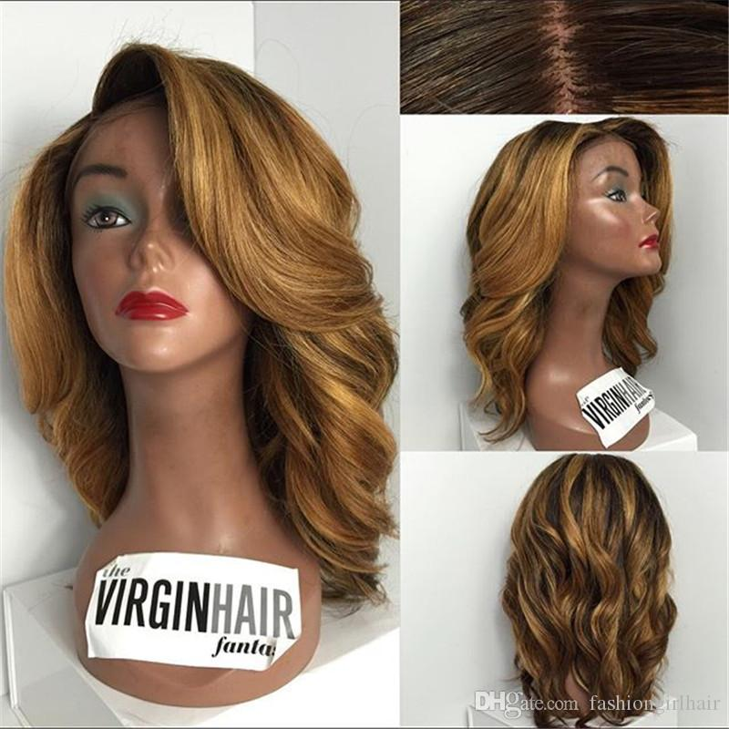 Top Quality Dark Roots Ombre Brown synthetic Lace Front Wigs Heat Resistant body wave short bob Wigs for Black Women