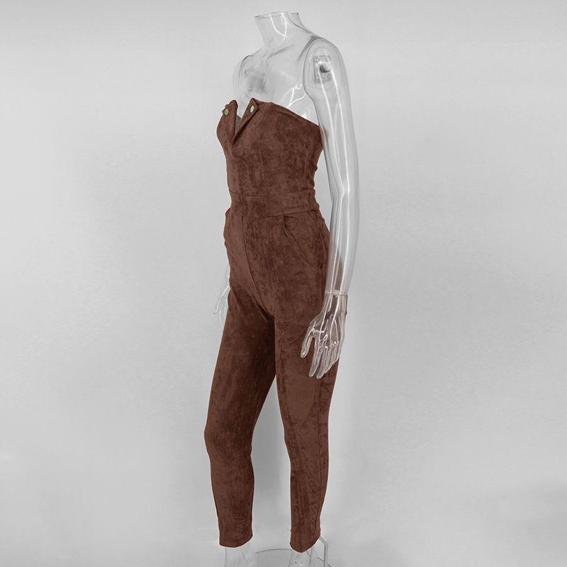 NATTEMAID комбинезон из кожи без бретелек из замши ползунки женский тонкий коричневый зимний длинный комбинезон Элегантный осенний женский комбинезон оптом