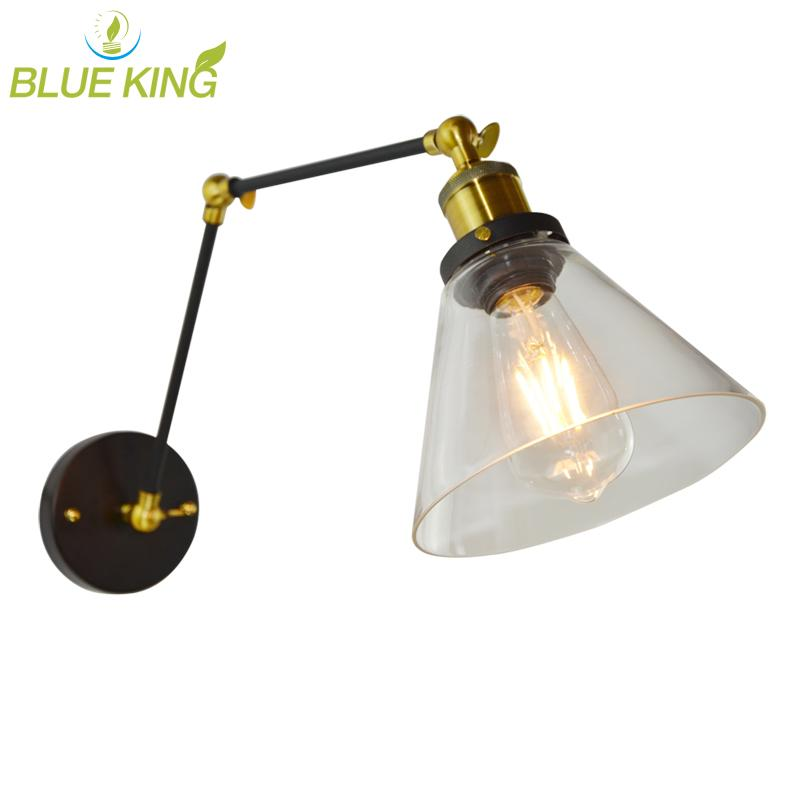 2019 Retro Two Swing Arm Wall Lamp Sconces Glass Shade Baking Finish