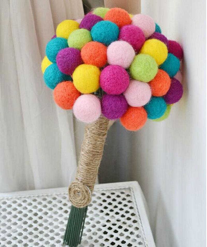 Best Brand New Multicolour Wool Felt Ball Bridal Bridesmaid Wedding ...