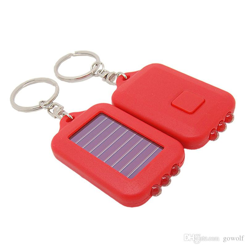 Mini Portable Solar Power Rechargeable 3 LED Flashlight Keychain Light Torches Ring Holder for Camping