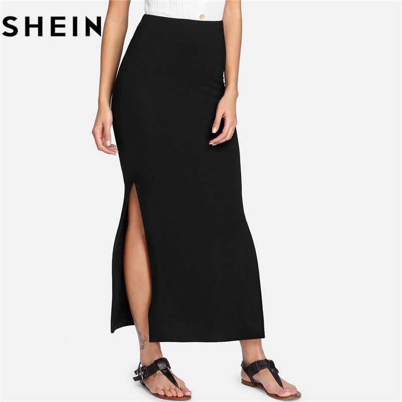 Compre SHEIN 2018 Mujeres Sólidas Faldas Largas Flacas Sexy Negras Trabajo  De Oficina Señora Casual Elegante Cintura Media Lateral Lacio Falda Maxi  S916 A ... 9ef6309ec531