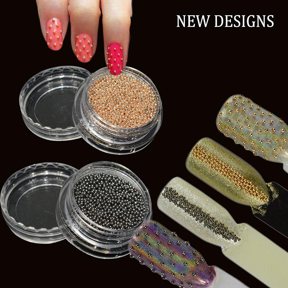 1 Box Steel Beads Studs Nail Art Decoration Gold Grey Caviar Beads