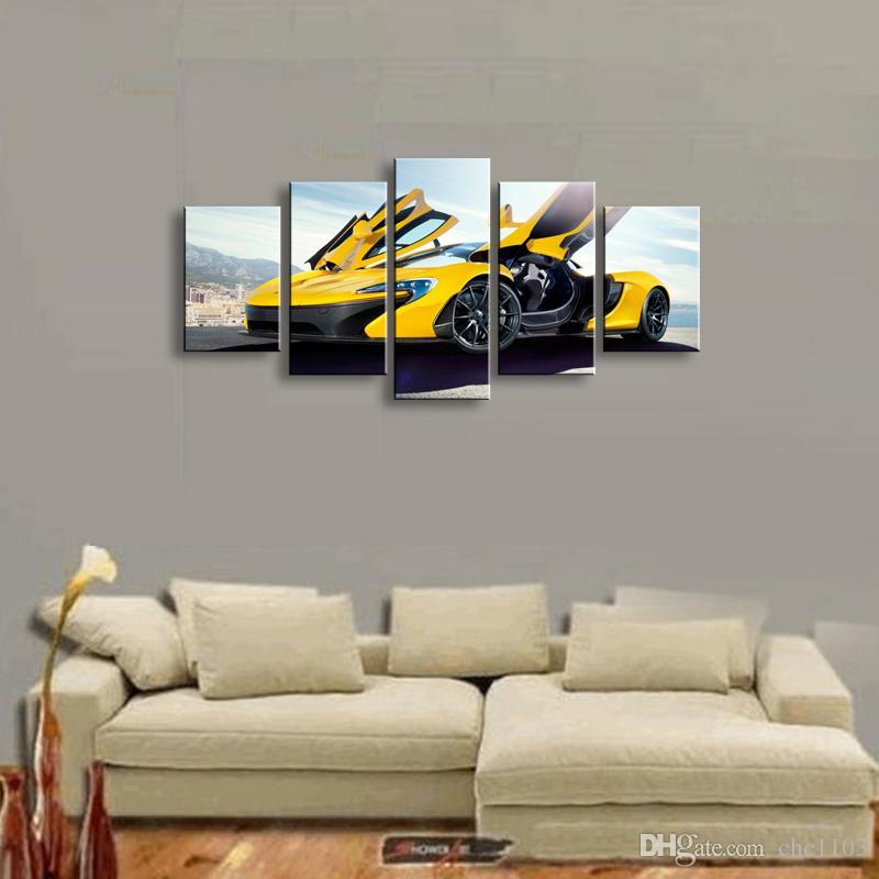 5 шт. высокой четкости печати спортивный автомобиль холст картина маслом плакат и стены искусства гостиной картина C5-22