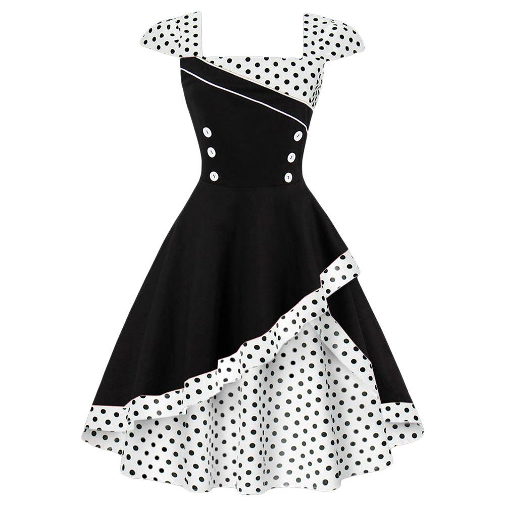 Großhandel Größe Vintage S 4xl Frauen Rockabilly Wipalo Plus Kleid jq354ARcL