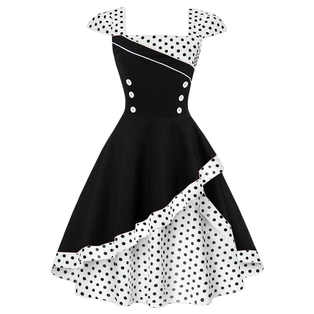 1f579f37d17c9 2019 Wipalo Plus Size S 4XL Women Vintage Dress Rockabilly Feminino Robe  Vestidos Hepburn 50s 60s Bown Gown Polka Dot Party Dresses Y1890704 From  Tao02