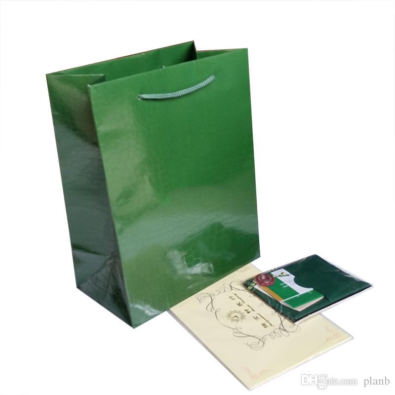 Apenas Papeles Originais / Cartão / Certificado! Relógios de luxo caixa de embalagem marca verde relógio papéis para rolex caixa de relógio caixa de presente