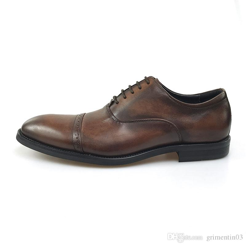 GRIMENTIN Italian Fashion Men Oxford Shoes Genuine Leather Brown Formal Business Wedding Mens Shoes Fashion Italian Men Leather Shoes JM