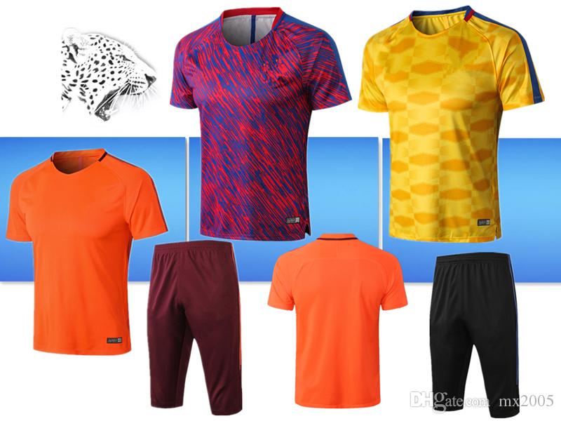 993addcba New style Barca jersey 2018/2019 soccer Training shirts Sportswear printed  woolen sweater Men's short-sleeved training shirt Leisure sweatsh