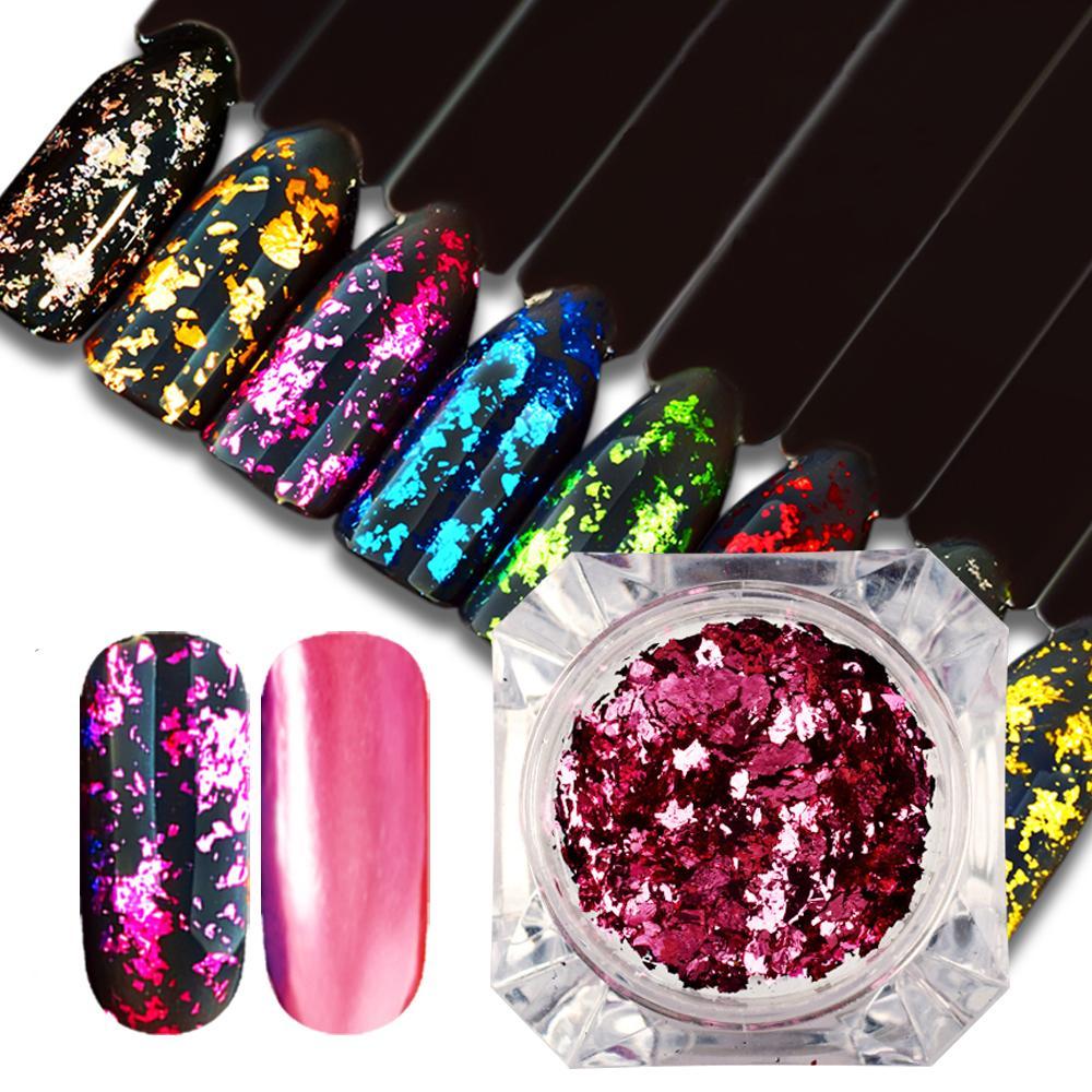 1g Holographische Nagel Glitter Pulver Unregelmäßige Pailletten Flake Diy Maniküre Nagel Zubehör Design Dekoration Nails Art & Werkzeuge Schönheit & Gesundheit