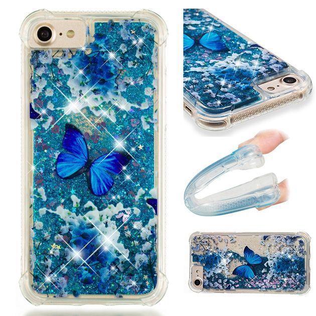 Quicksand Sıvı Yumuşak TPU Kılıf Iphone X 8 7 6 6 S Artı 5 5 S SE Ipod Dokunmatik 5 6 MOTO E4 AB G5S Unicorn Kelebek Dreamcathcer Kiraz Kapak