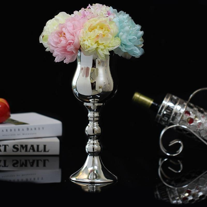 Luxurious Silver Plated Flower Vases Iron Metal Modern Table Home Decoration Vase And Tall For Wedding Flowerpots 024 Sale