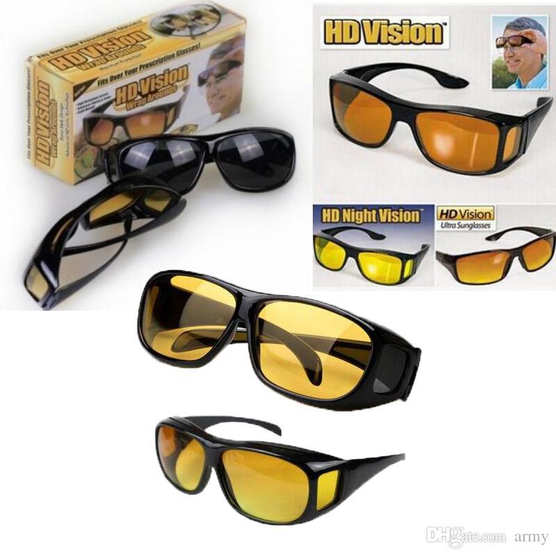 HD Visión Nocturna Gafas de sol de conducción Hombres Lente Amarilla Sobre Envoltura Gafas Oscuras Conducción UV400 Gafas protectoras antirreflejo