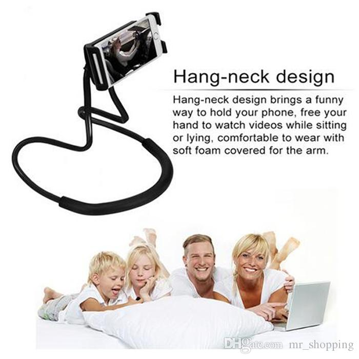 60 cm long arm Hand free smart phone holder Neck hong handfree Cellphone Mounts Selfie Stick lazy man phone Stand tool with retail box