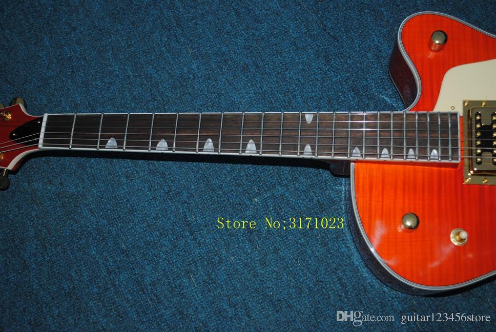 Custom Shop Top Quality Tiger Flame Maple Top Orange Falcon 6120 Semi Hollow Body Jazz Electric Guitar Chrome Hardware