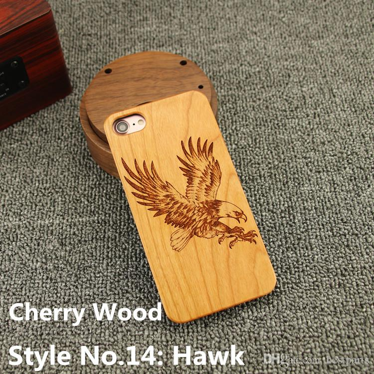Style No. 14 Hawk Real Genuine Natural Wood Wooden Bamboo Rear Back Cover Cases for iPhone X 8 7 6S 6 Plus 5 5S SE Inside