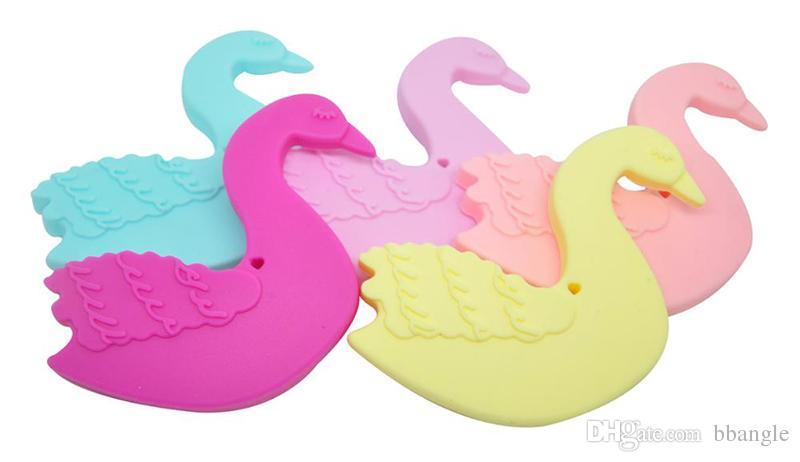 Large Swan Silicone Teether Bird Teether Food Grade Silicone Beads Sensory Pendant Baby Teething Toy Nursing Baby Teether