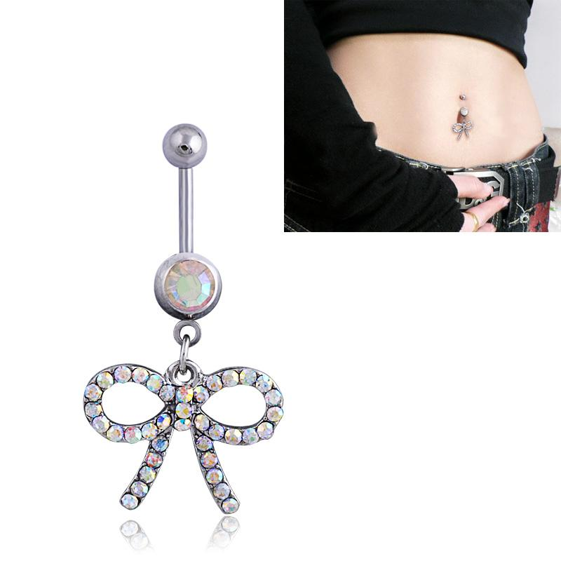 New Bow Tie Jeweled Dangle Navel Bar Stud Bling Belly Button Rings Body Piercing Jewelry,Charming 0303