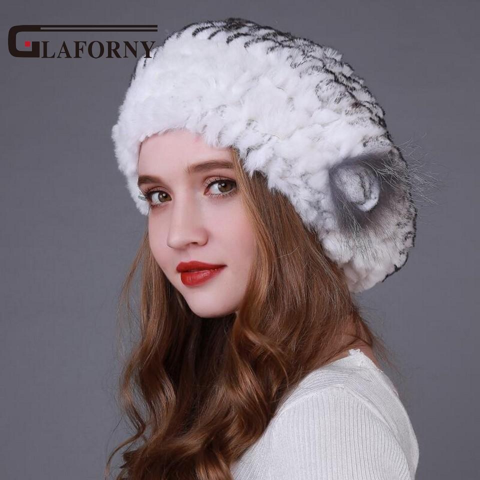 9717510b5 Glaforny 2017 Winter Real Rex Rabbit Fur Hat Beret Fur Cap Winter Genuine  Women's Warm Hat with Fox Flower Wholesale