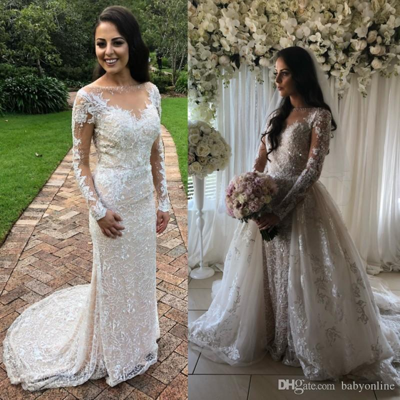 70c0822a719 Gorgeous Lace Mermaid Wedding Dresses Detachable Skirts 2018 3D Appliques  Sheer Neck Long Sleeves Bridal Gowns Luxury Reception Dress Mermaid Style  Wedding ...