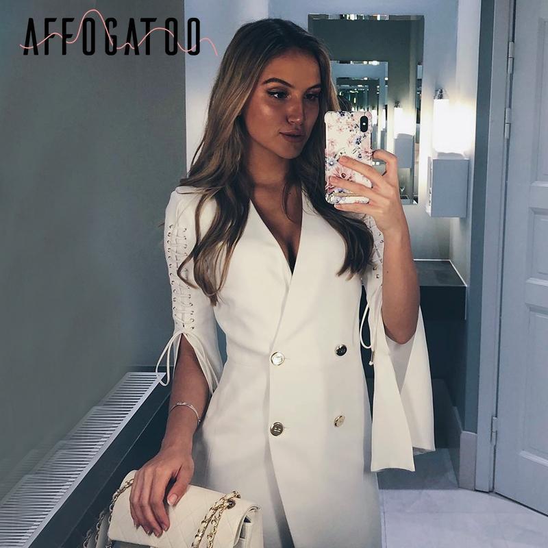 3f12b75524f2 Affogatoo OL blazer fendue robe blanche Femmes élégante robe courte à  double boutonnage costume Automne hiver robe blanche robes