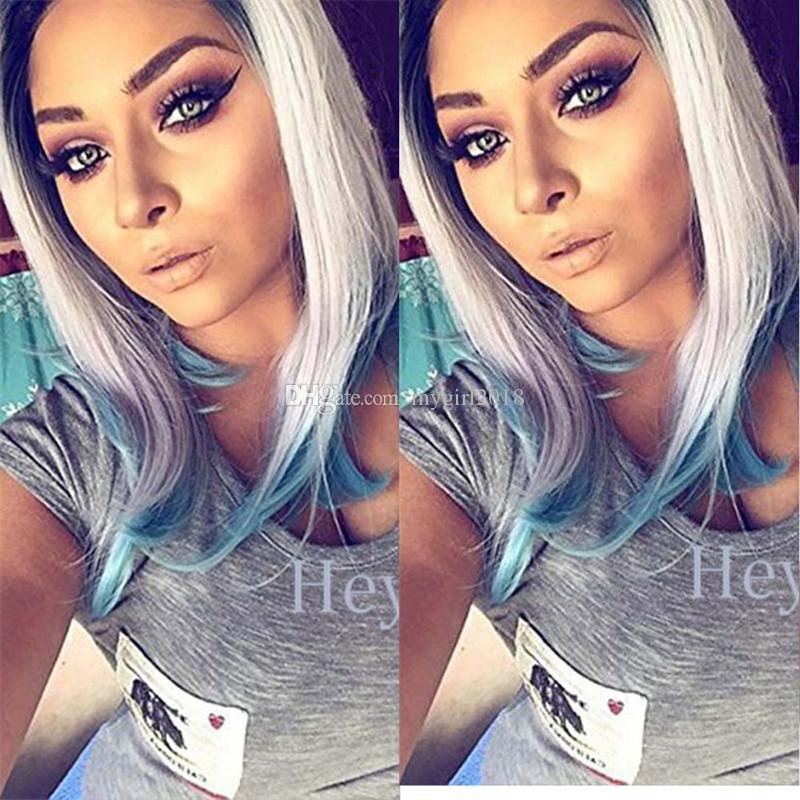 Short BOB wigs 3 Tones Silver grey Synthetic Lace Front Wig Black Gray white Blue Ombre Straight wig Heat Resistant Hair
