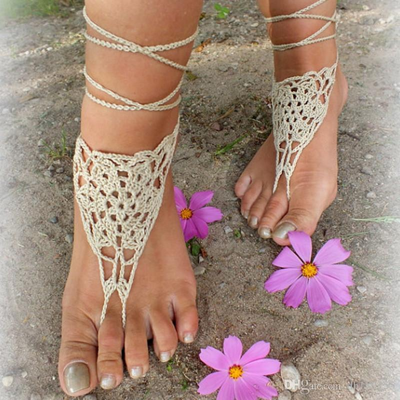a9dbd1d1e2488 wholesale Crochet White Barefoot Sandals, Foot jewelry crocheted sexy  barefoot lace Shoes in Beige color made from pure cotton yarn