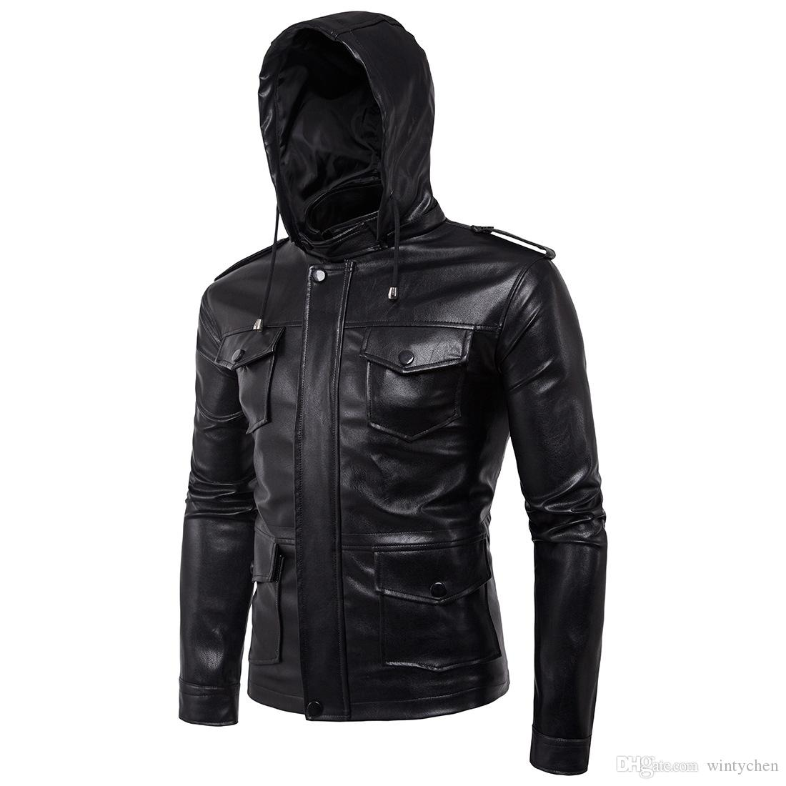 7aa710be198 Men s Casual Slim 2018 Explosion Oblique Zipper Leather Jacket ...