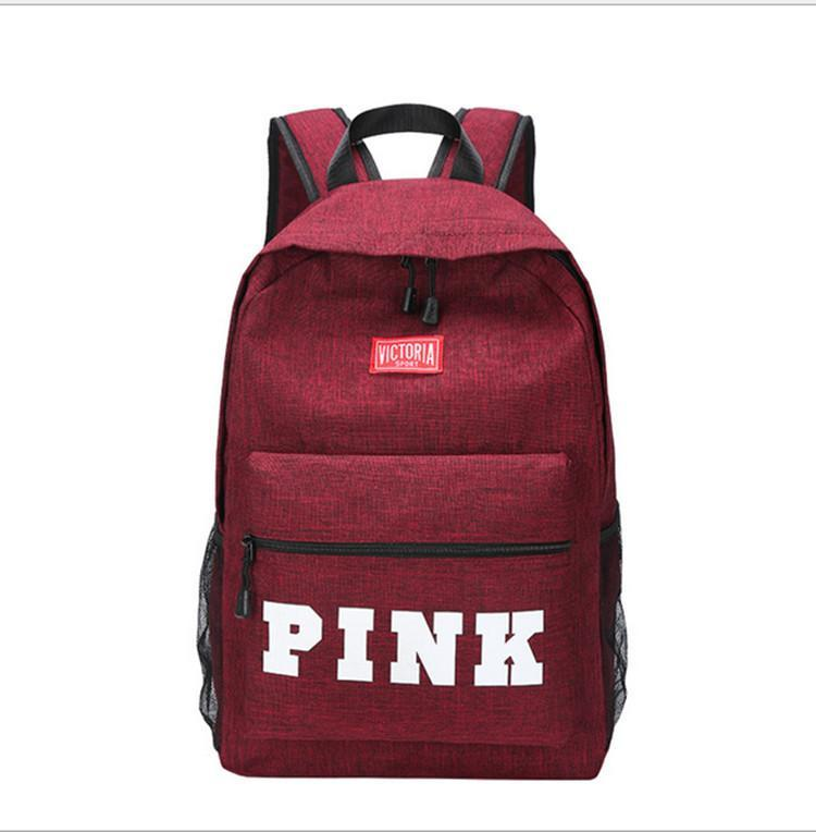 2018 Fashion And Love Pink Backpack Pink Letter Bag Teenager ... 3ae7b53005