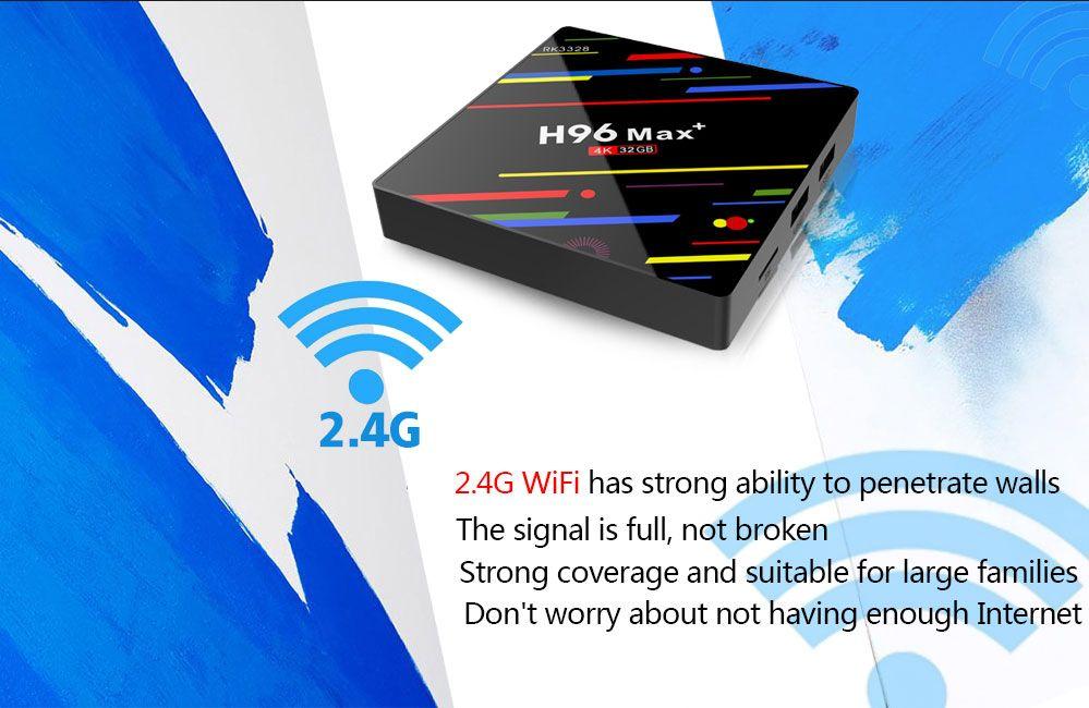 H96 Max+ Max plus TV Box RK3328 Quad Core 4GB RAM 32GB ROM Set Top Box 2.4G 5G WiFi 3G 4K HD Android 8.1 Media Player TV-Box MQ10