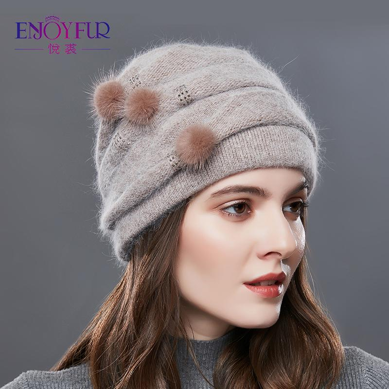 b177866bf4d ENJOYFUR Cashmere Pompom Women Winter Hats Caps Stripe Knitted Hat Female  Fashion Lady Middle-Aged Cap Rhinestones Thick Beanie C18103101 Online with  ...