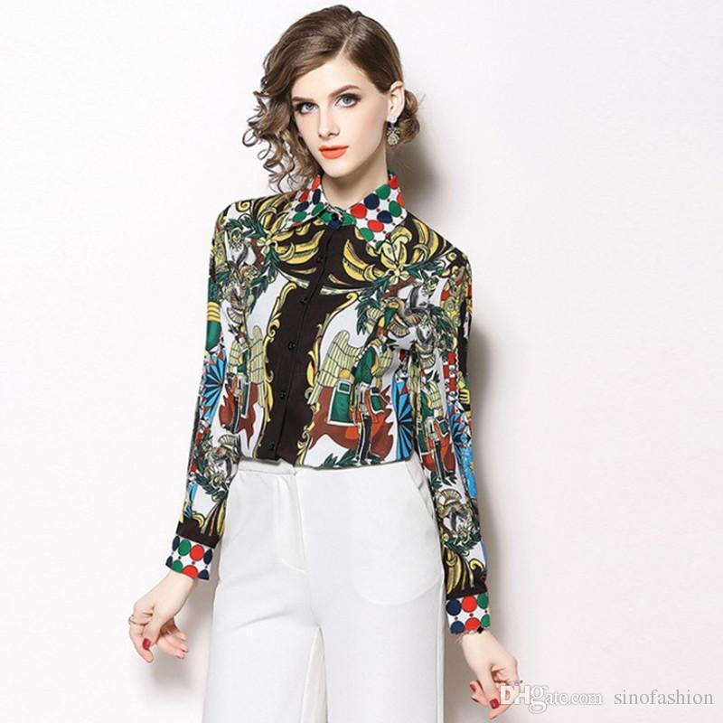 cb2f9c2377 Compre Clássico Do Vintage T Shirt Mulheres Elegantes OL Camisas De Manga  Longa Moda Tendência Impressão Blusa Roupas Plus De Sinofashion
