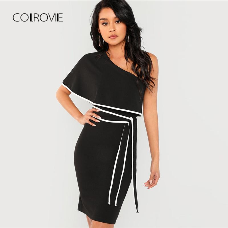 df3aaa3cad0b COLROVIE Black One Shoulder Ruffle Belted Girl Sexy Dress Women 2018 ...